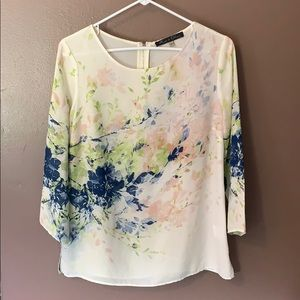 Watercolor semi-sheer blouse